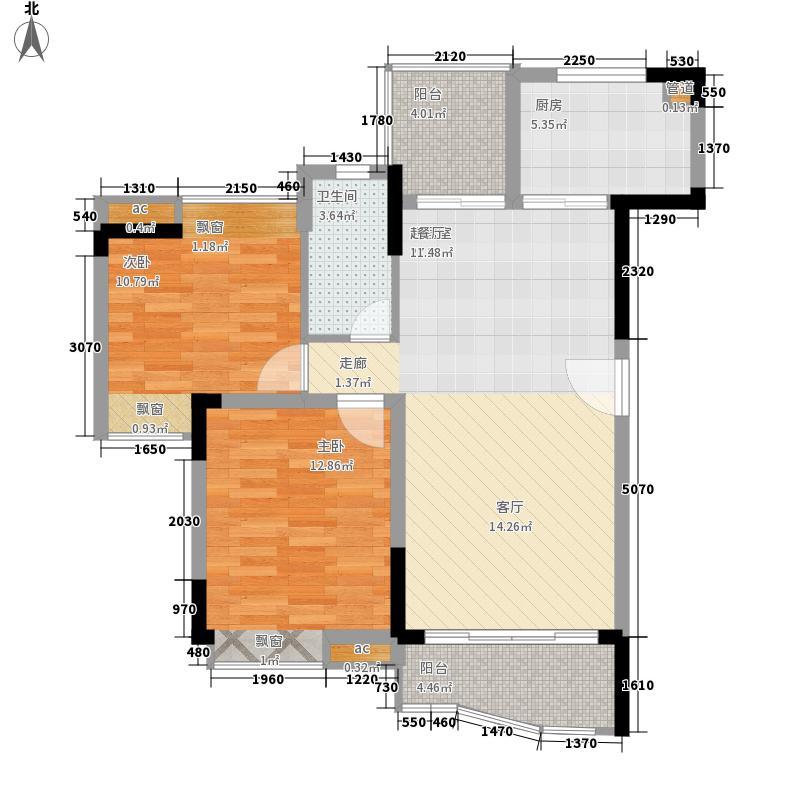 华南新城户型图1-3栋01单位  2室2厅1卫1厨