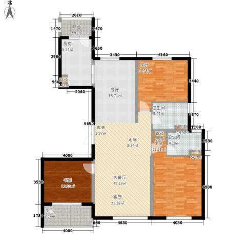 铂金时代3室1厅2卫1厨138.00㎡户型图