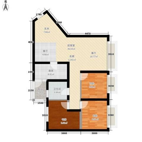 康路蓝山日记3室0厅1卫1厨86.00㎡户型图