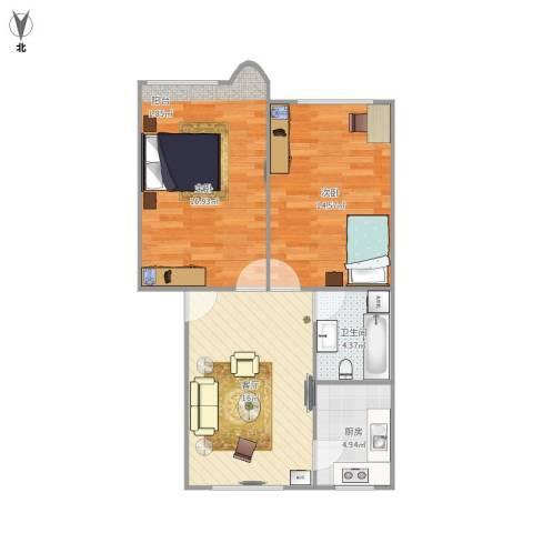 杨家镇2室1厅1卫1厨75.00㎡户型图