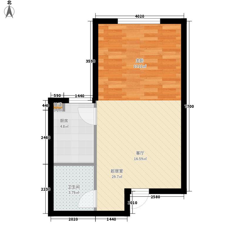 龙泉国际42.77㎡龙泉国际户型图D(正)1室1厅户型1室1厅