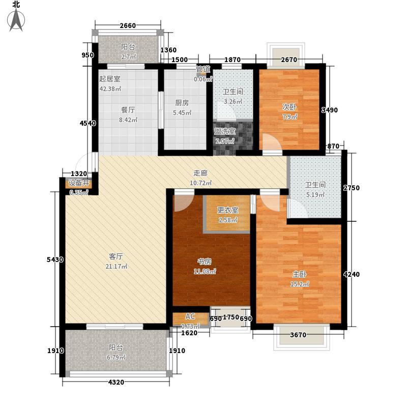 金庭国际花园119.65㎡一期1、20幢1-4层B2户型3室2厅2卫1厨