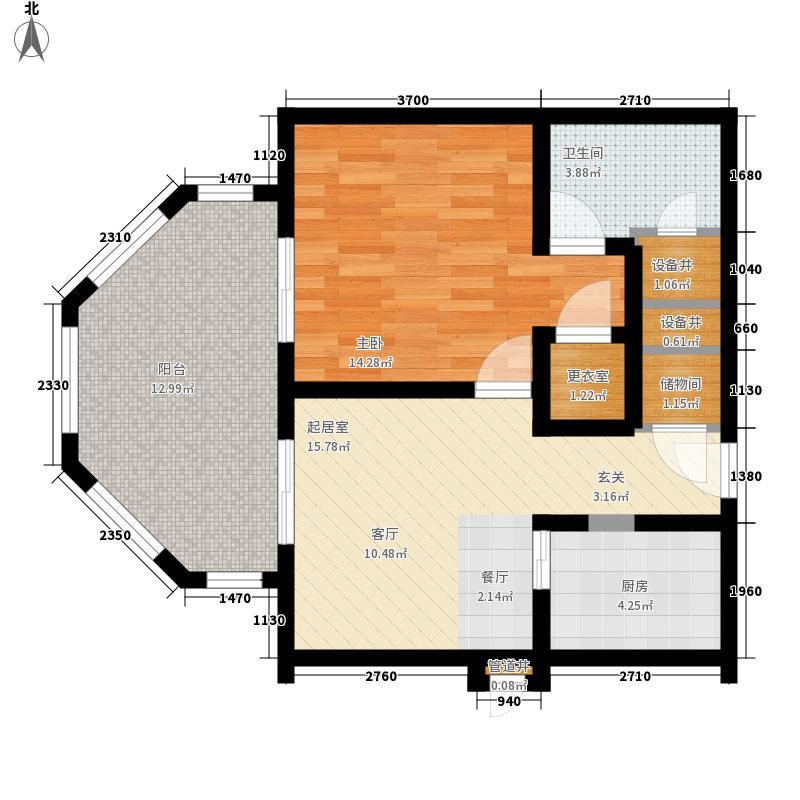 国信龙沐湾77.04㎡国信龙沐湾户型图A3户型1室1厅1卫1厨户型1室1厅1卫1厨