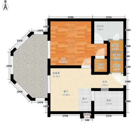 国信龙沐湾1室0厅1卫1厨77.00㎡户型图