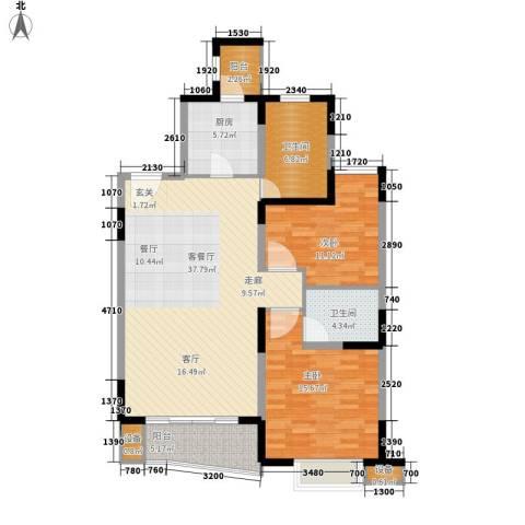 大华清水湾花园2室1厅2卫1厨128.00㎡户型图