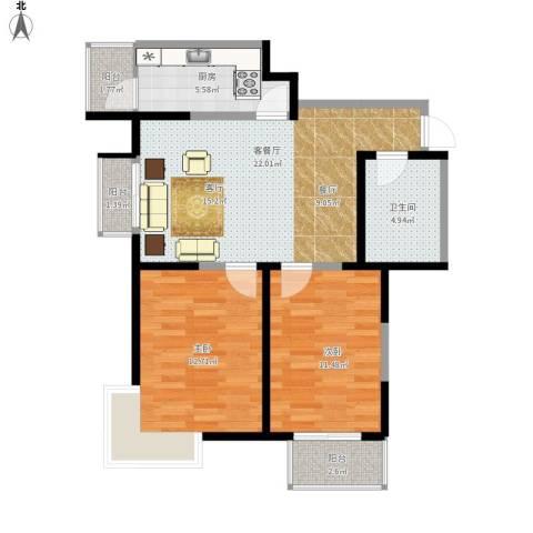 心源家园2室1厅1卫1厨89.00㎡户型图