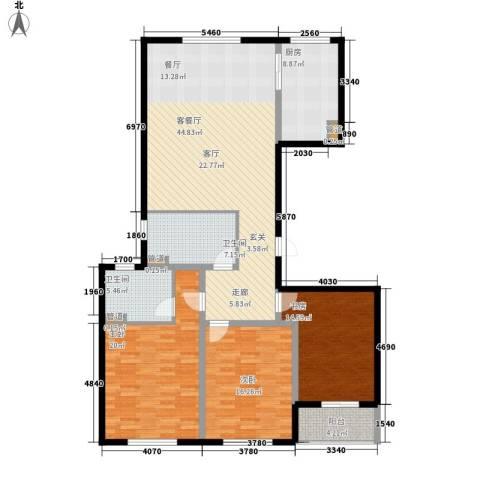 铂金时代3室1厅2卫1厨137.13㎡户型图