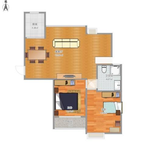中楠时代花园2室1厅1卫1厨75.00㎡户型图