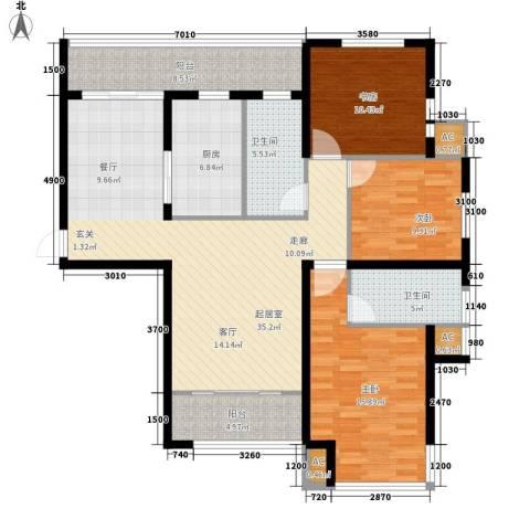 丽景华庭3室0厅2卫1厨113.00㎡户型图