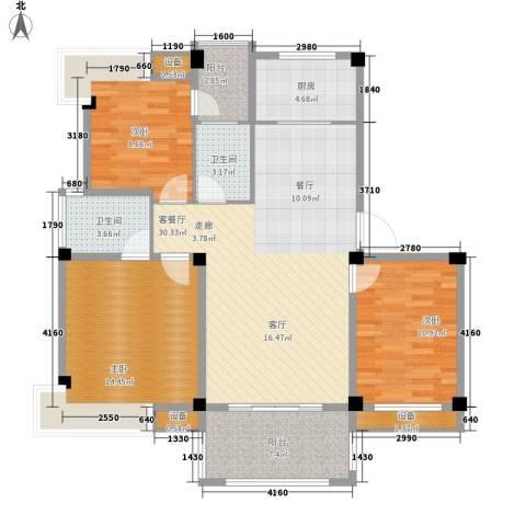 香山听泉3室1厅2卫1厨100.00㎡户型图