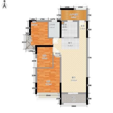 长城雅苑二期3室1厅1卫1厨106.00㎡户型图