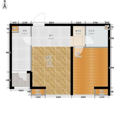合生江山帝景1室1厅1卫1厨68.00㎡户型图
