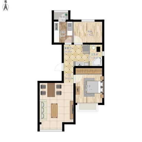 金第梦想山2室1厅1卫1厨89.00㎡户型图