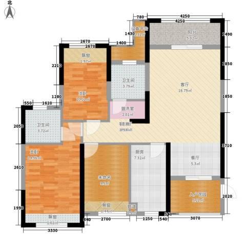长城雅苑二期2室1厅2卫1厨115.00㎡户型图