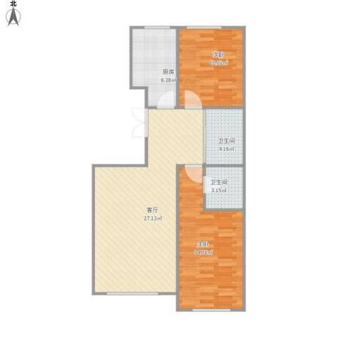 如一坊中央公园2室1厅2卫1厨88.00㎡户型图