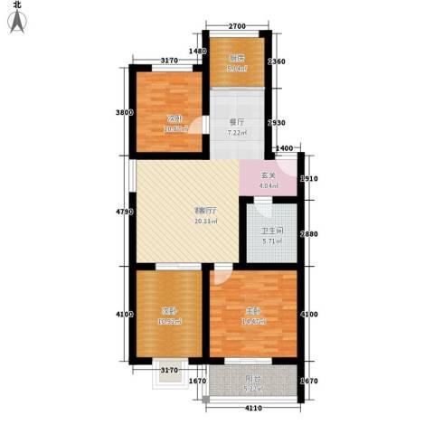 花间小镇3室1厅1卫1厨99.00㎡户型图