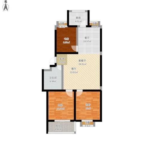 文泰康城3室1厅1卫1厨122.00㎡户型图