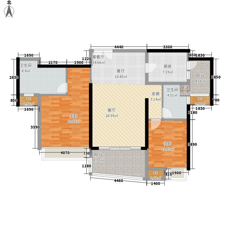 成都ICC住宅127.00㎡成都ICC3号楼户型2室2厅