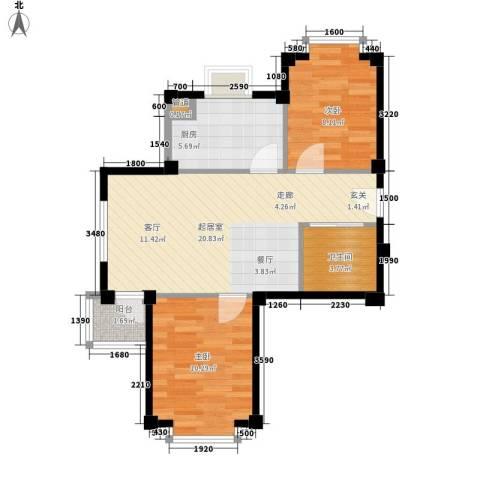 哈佛映像2室0厅1卫1厨57.20㎡户型图