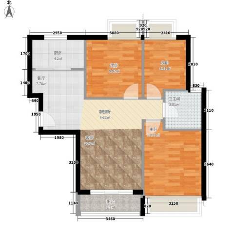 祥源汇博名座3室1厅1卫1厨91.00㎡户型图