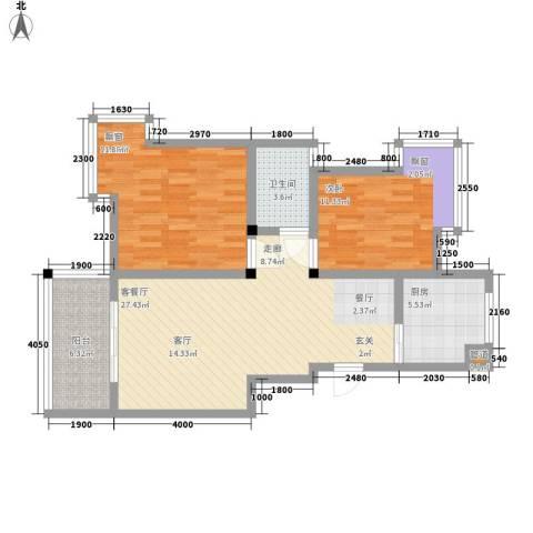 丽江山海居2室1厅1卫1厨86.00㎡户型图