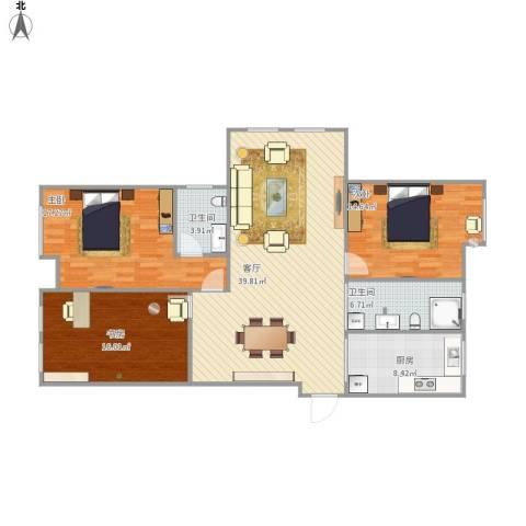 海陵首府3室1厅2卫1厨142.00㎡户型图