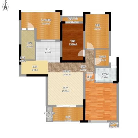 鑫远湘府华城3室1厅2卫1厨153.00㎡户型图