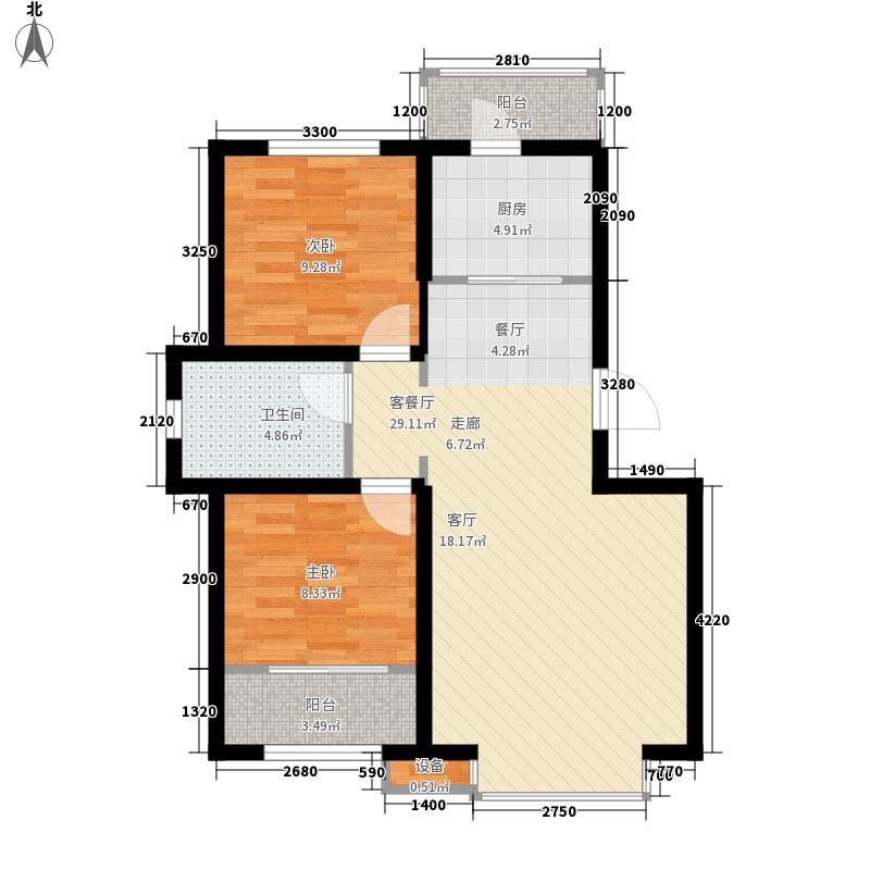 阳光嘉城三期8.00㎡G1户型2室2厅1卫1厨
