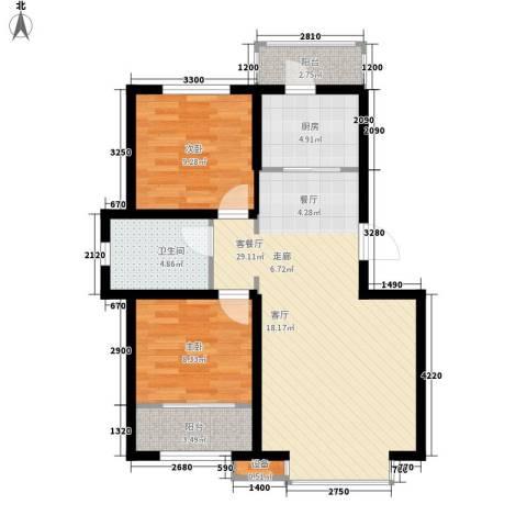 阳光嘉城三期2室1厅1卫1厨72.45㎡户型图