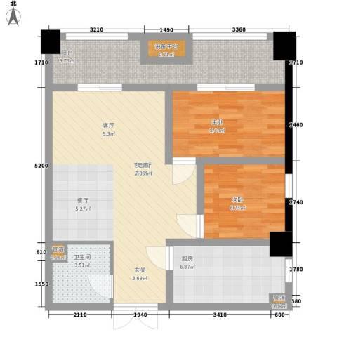 长城雅苑二期2室1厅1卫1厨82.00㎡户型图
