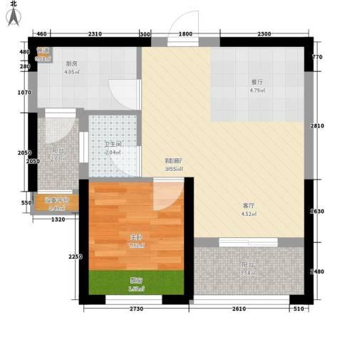 长城雅苑二期1室1厅1卫1厨56.00㎡户型图