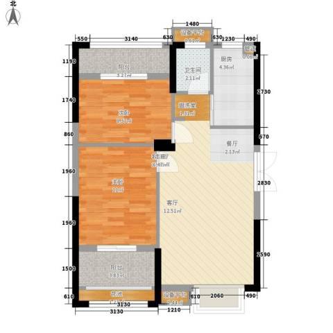 长城雅苑二期2室1厅1卫1厨86.00㎡户型图