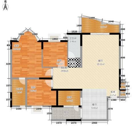 碧水云天3室1厅2卫1厨115.00㎡户型图