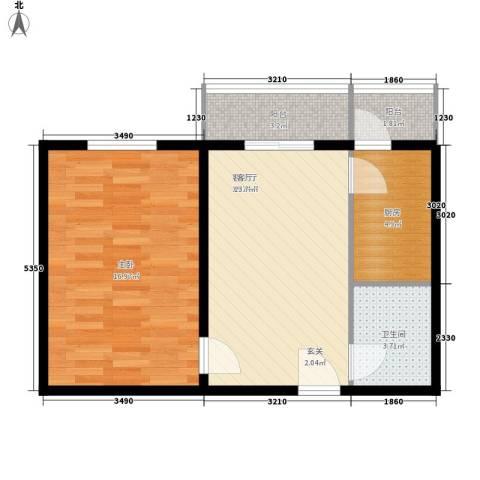 创业公寓二期1室1厅1卫1厨57.00㎡户型图
