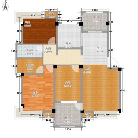 香山听泉3室1厅2卫1厨113.00㎡户型图