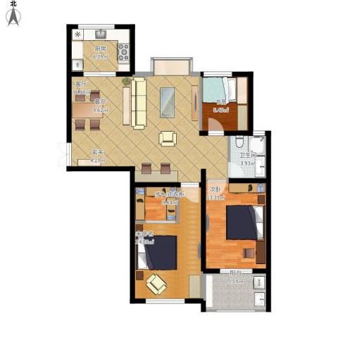天顺御河湾2室1厅1卫1厨129.00㎡户型图