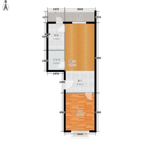 创业公寓二期1室1厅1卫1厨63.00㎡户型图