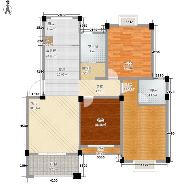 西城华府三房两厅两卫户型