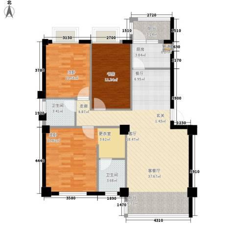 金嘉名筑3室1厅2卫1厨115.00㎡户型图