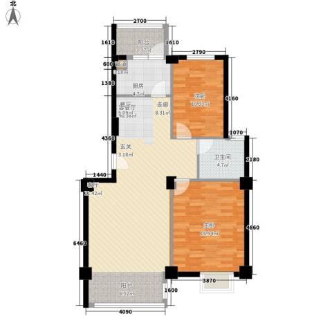 金嘉名筑2室1厅1卫1厨84.00㎡户型图
