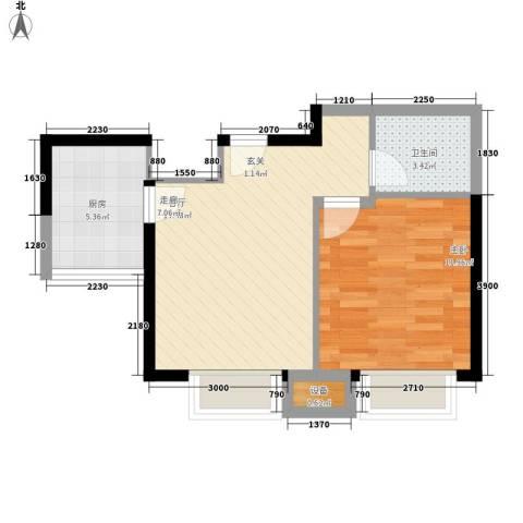 华鑫福邸1室1厅1卫1厨56.00㎡户型图
