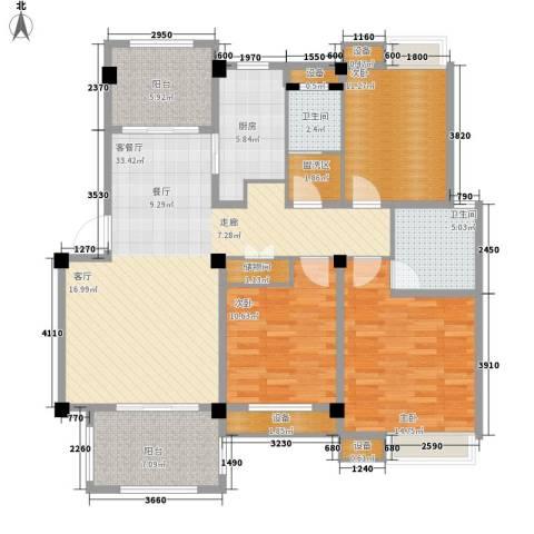 香山听泉3室1厅2卫1厨115.42㎡户型图