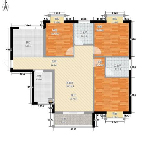 水云间3室1厅2卫1厨126.00㎡户型图