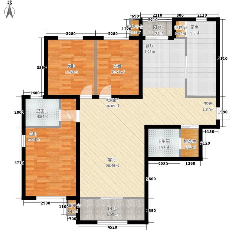 瀚城国际二期155.00㎡I-1户型3室1厅2卫1厨