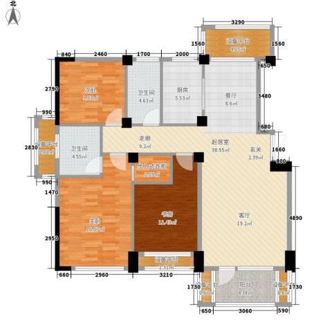 得力浅水湾3室0厅2卫1厨136.00㎡户型图
