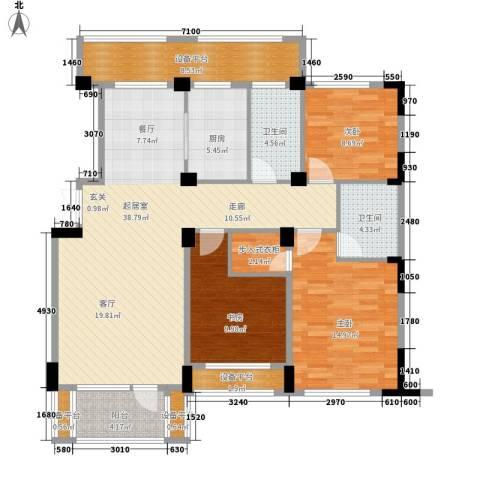 得力浅水湾3室0厅2卫1厨131.00㎡户型图
