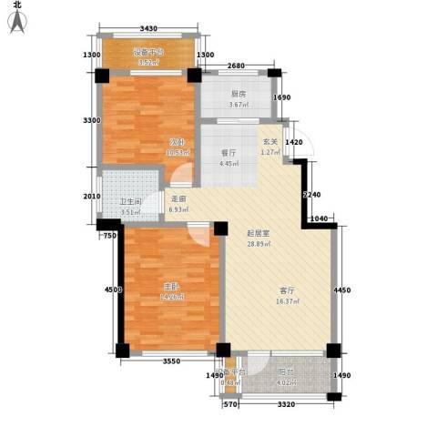 得力浅水湾2室0厅1卫1厨89.00㎡户型图