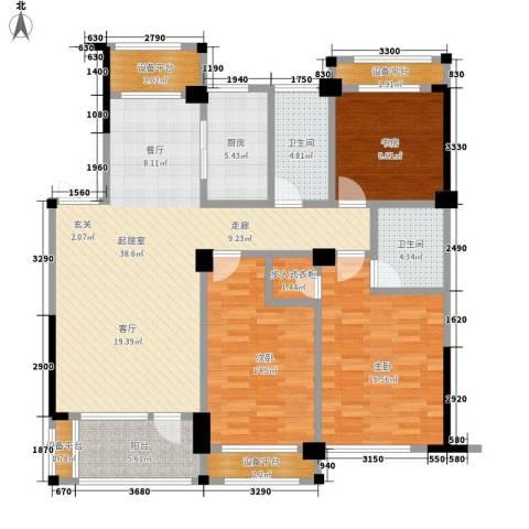 得力浅水湾3室0厅2卫1厨135.00㎡户型图