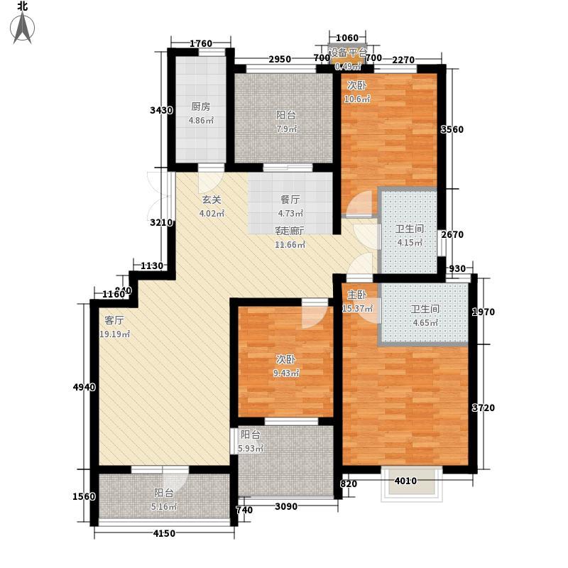 百合公馆124.50㎡H1户型3室2厅2卫1厨