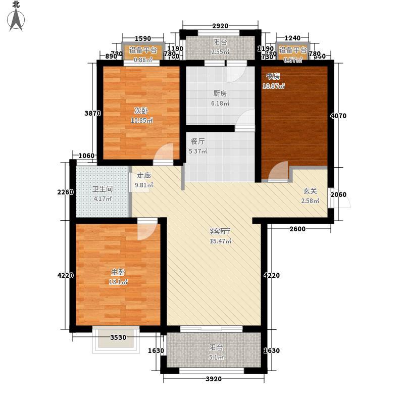 百合公馆11.25㎡D1户型3室2厅1卫1厨